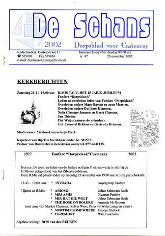Castenrays dorpsblad De Schans 2002-11-20