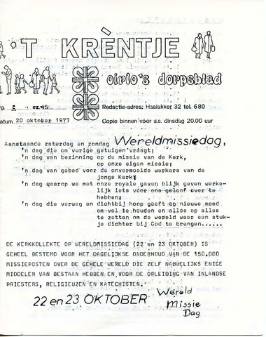 Oirlo's dorpsblad 't Krèntje 1977-10-20
