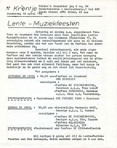 Oirlo's dorpsblad 't Krèntje 1974-04-18