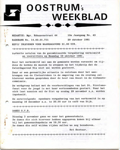 Oostrum's Weekblad 1981-10-29