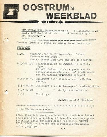 Oostrum's Weekblad 1974-11-22