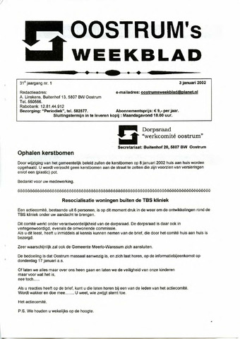 Oostrum's Weekblad 2002-01-03