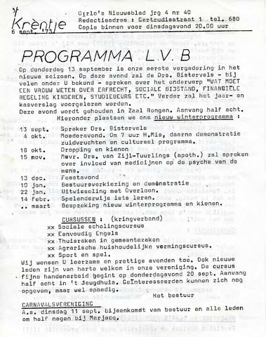 Oirlo's dorpsblad 't Krèntje 1973-09-06