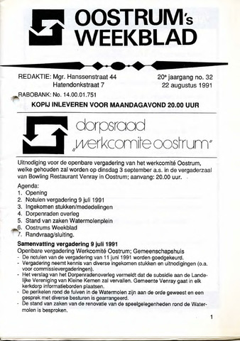 Oostrum's Weekblad 1991-08-22