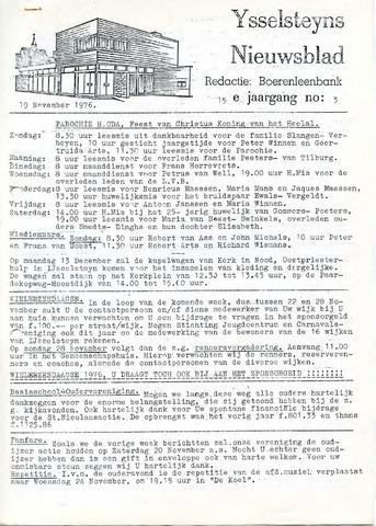 Ysselsteyns Nieuwsblad 1976-11-19