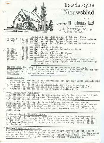 Ysselsteyns Nieuwsblad 1981-02-20
