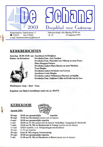 Castenrays dorpsblad De Schans 2003-08-27