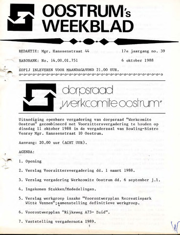 Oostrum's Weekblad 1988-10-06