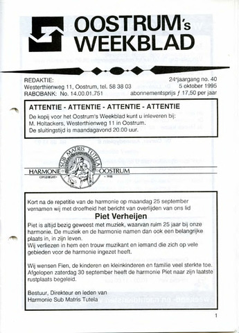 Oostrum's Weekblad 1995-10-05