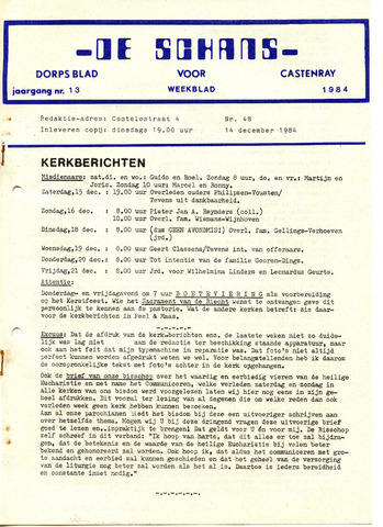 Castenrays dorpsblad De Schans 1984-12-14