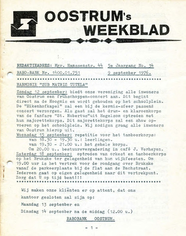 Oostrum's Weekblad 1976-09-09