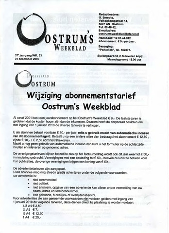 Oostrum's Weekblad 2009-12-31