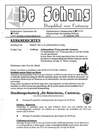 Castenrays dorpsblad De Schans 2008-09-03