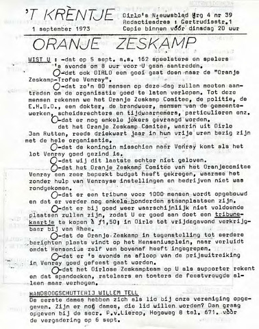 Oirlo's dorpsblad 't Krèntje 1973-09-01