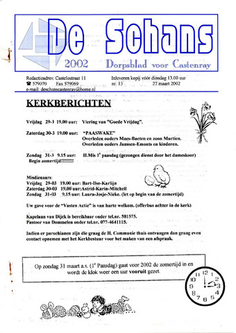 Castenrays dorpsblad De Schans 2002-03-27