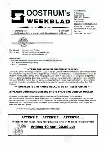 Oostrum's Weekblad 2004-04-08
