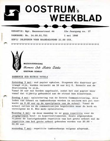 Oostrum's Weekblad 1986-05-01