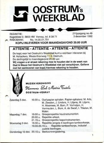 Oostrum's Weekblad 1992-12-03