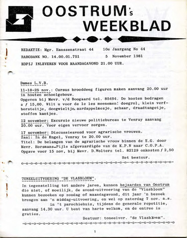 Oostrum's Weekblad 1981-11-05