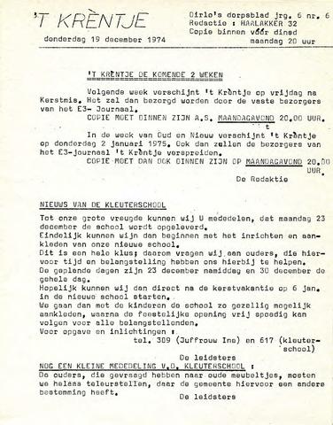 Oirlo's dorpsblad 't Krèntje 1974-12-19