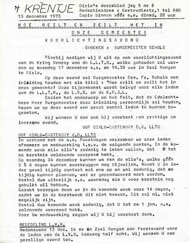 Oirlo's dorpsblad 't Krèntje 1973-12-13