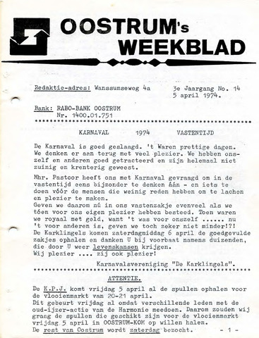Oostrum's Weekblad 1974-04-05