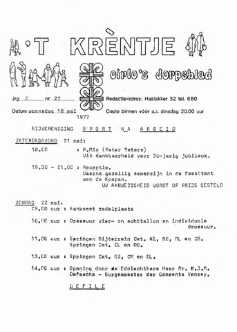 Oirlo's dorpsblad 't Krèntje 1977-05-18