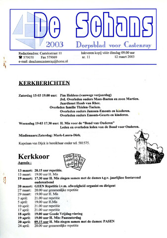 Castenrays dorpsblad De Schans 2003-03-12