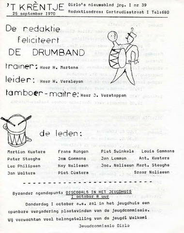 Oirlo's dorpsblad 't Krèntje 1970-09-25
