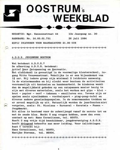 Oostrum's Weekblad 1984-07-26