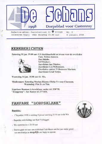Castenrays dorpsblad De Schans 1998-01-08