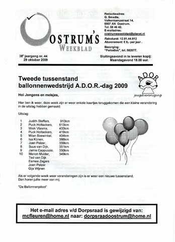 Oostrum's Weekblad 2009-10-29