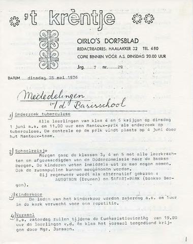 Oirlo's dorpsblad 't Krèntje 1976-05-25