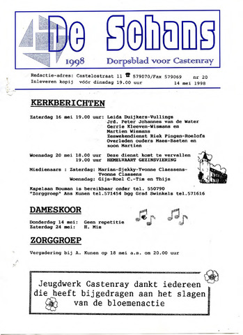 Castenrays dorpsblad De Schans 1998-05-14