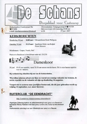 Castenrays dorpsblad De Schans 2007-06-27