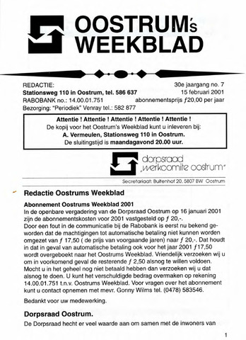 Oostrum's Weekblad 2001-02-15