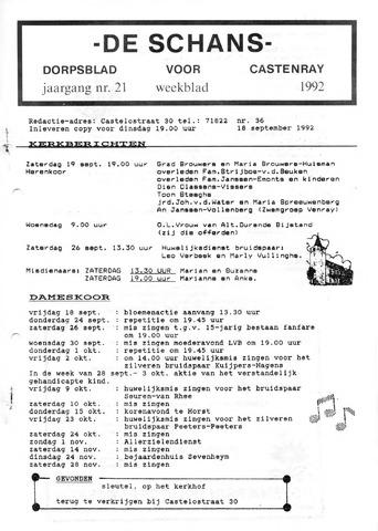 Castenrays dorpsblad De Schans 1992-09-18