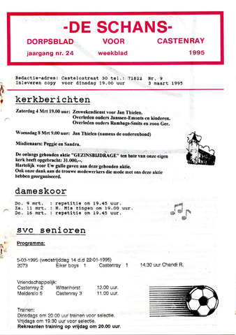 Castenrays dorpsblad De Schans 1995-03-03