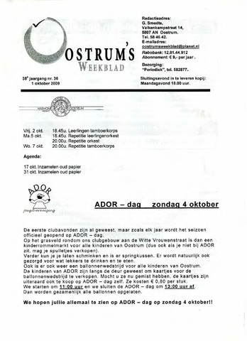 Oostrum's Weekblad 2009-10-01