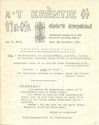 Oirlo's dorpsblad 't Krèntje 1979-09-20