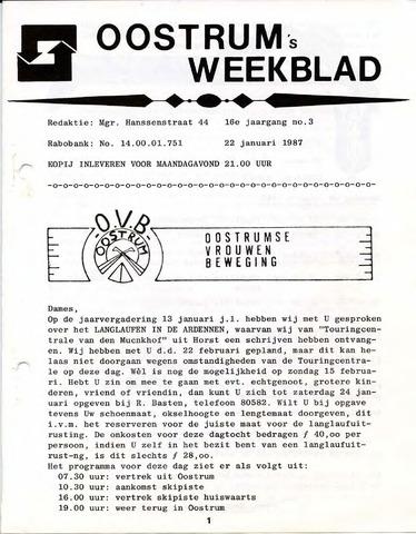 Oostrum's Weekblad 1987-01-22