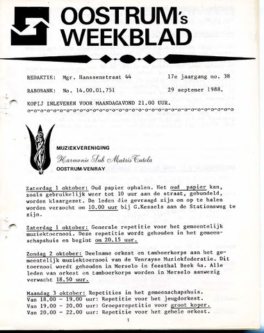Oostrum's Weekblad 1988-09-29