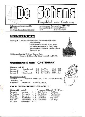 Castenrays dorpsblad De Schans 2005-11-23
