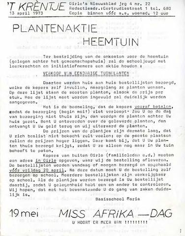 Oirlo's dorpsblad 't Krèntje 1973-04-13