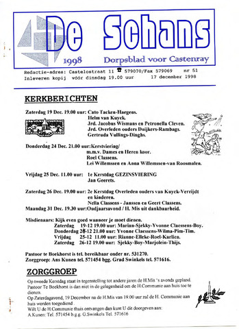 Castenrays dorpsblad De Schans 1998-12-17