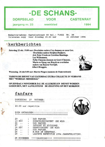 Castenrays dorpsblad De Schans 1994-10-21