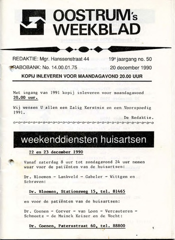 Oostrum's Weekblad 1990-12-20