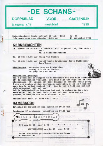 Castenrays dorpsblad De Schans 1990-09-21