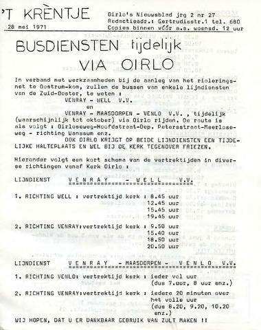 Oirlo's dorpsblad 't Krèntje 1971-05-28