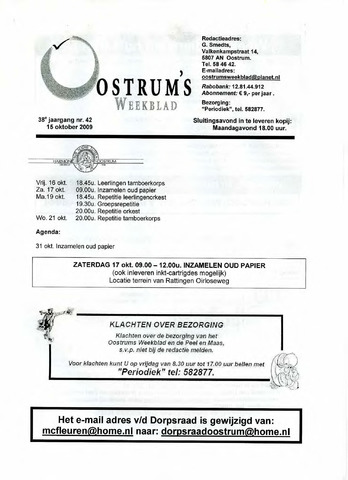 Oostrum's Weekblad 2009-10-15